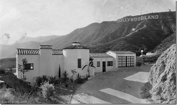 Hollywoodland home and sign - 1932